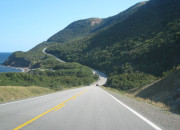 View of the turning highway in the Cape Breton Highlands